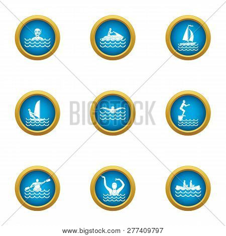 Recreation Water Icons Set. Flat Set Of 9 Recreation Water Icons For Web Isolated On White Backgroun