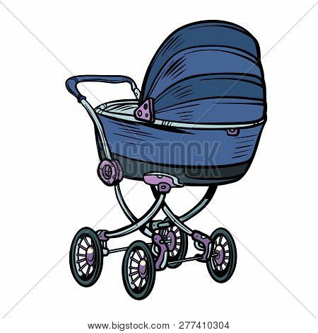Pram Baby Carriage Stroller Perambulator Buggy. Pop Art Retro Vector Illustration Kitsch Vintage