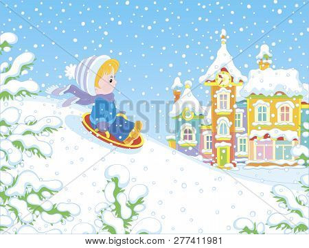 Small Child Sledding Down A Snow Hill On A Playground In A Winter Park Of A Town, Vector Illustratio