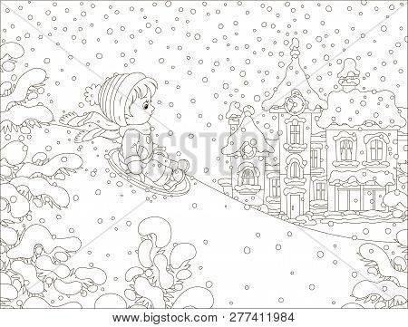 Small Child Sledding Down A Snow Hill On A Playground In A Winter Park Of A Town, Black And White Ve