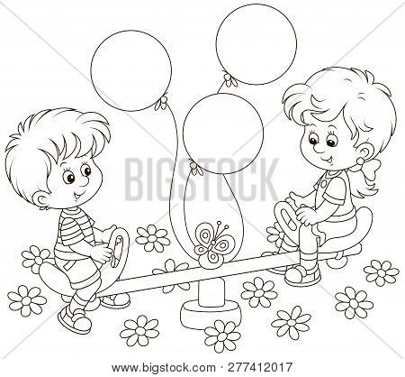 Small Children Playing On A Toy Seesaw On A Playground In A Park, Black And White Vector Illustratio