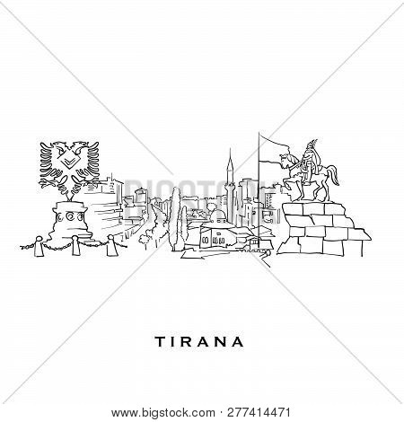 Tirana Albania Famous Architecture. Outlined Vector Sketch Separated On White Background. Architectu