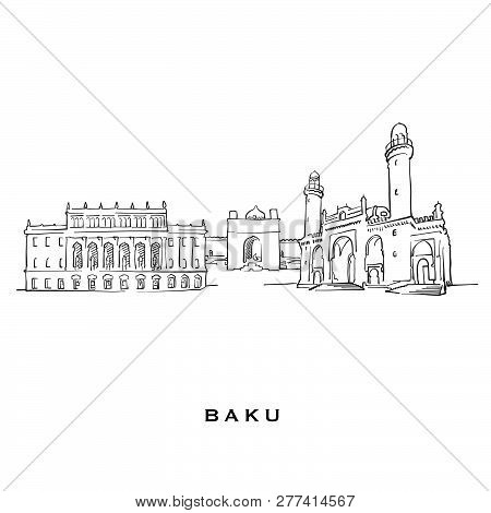 Baku Azerbaijan Famous Architecture. Outlined Vector Sketch Separated On White Background. Architect