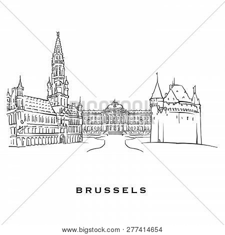 Brussels Belgium Famous Architecture. Outlined Vector Sketch Separated On White Background. Architec