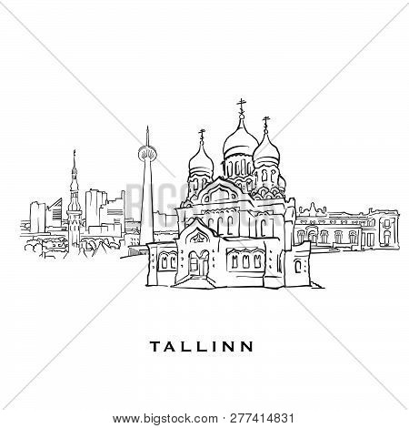 Tallinn Estonia Famous Architecture. Outlined Vector Sketch Separated On White Background. Architect