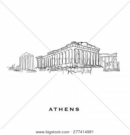 Athens Greece Famous Architecture. Outlined Vector Sketch Separated On White Background. Architectur