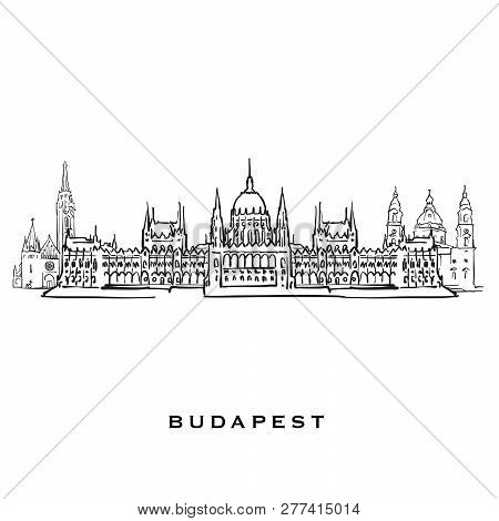 Budapest Hungary Famous Architecture. Outlined Vector Sketch Separated On White Background. Architec