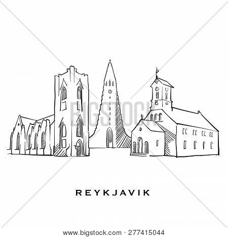Reykjavik Iceland Famous Architecture. Outlined Vector Sketch Separated On White Background. Archite