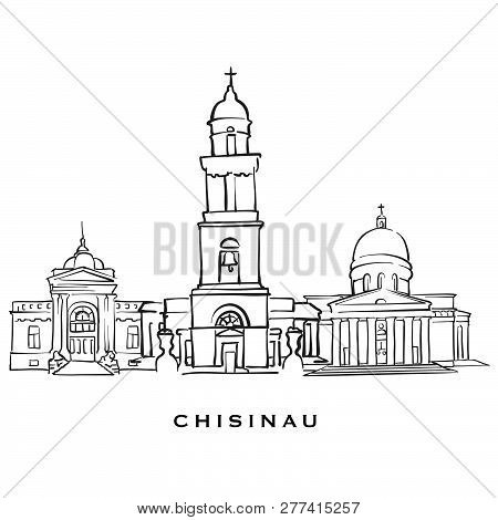 Chisinau Moldova Famous Architecture. Outlined Vector Sketch Separated On White Background. Architec