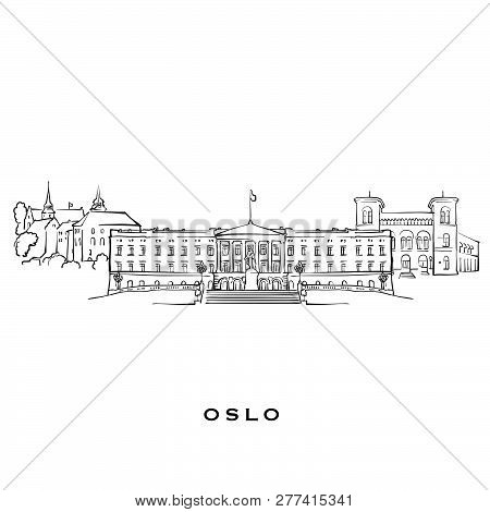 Oslo Norway Famous Architecture. Outlined Vector Sketch Separated On White Background. Architecture