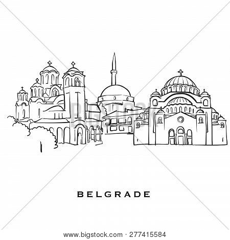Belgrade Serbia Famous Architecture. Outlined Vector Sketch Separated On White Background. Architect