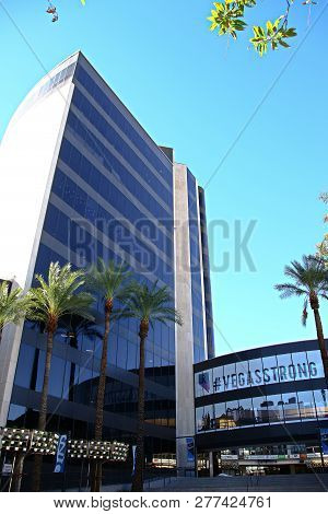 Las Vegas,nv/usa - Sep17 2018: Facade Of Las Vegas City Hall Against Blue Skies. Now Owned By Online