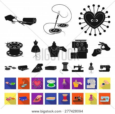 Atelier and equipment black, flat icons in set collection for design. Sewing of outer clothing vector symbol stock web illustration. poster