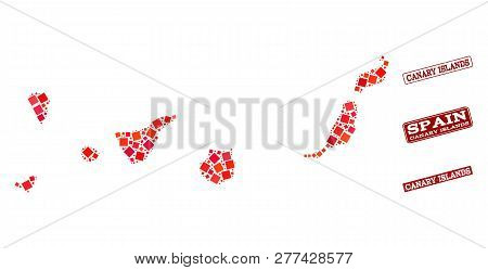 Geographic Combination Of Dot Mosaic Map Of Canary Islands And Red Rectangle Grunge Stamp Imprints.