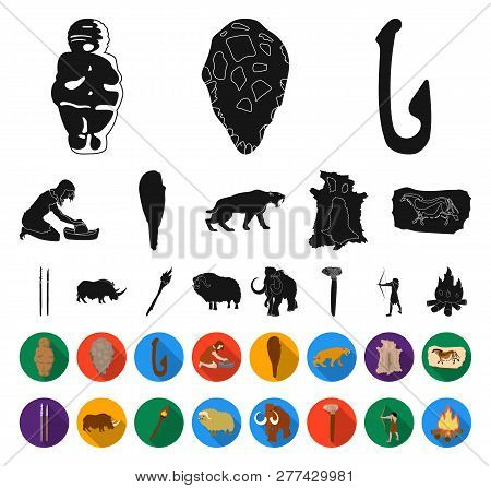 Life In The Stone Age Black, Flat Icons In Set Collection For Design. Ancient People Vector Symbol S