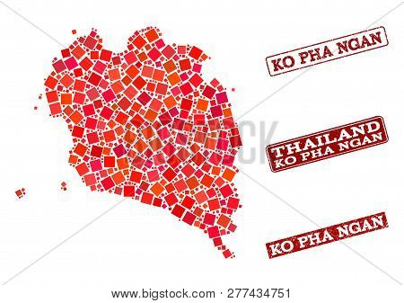 Geographic Composition Of Dot Mosaic Map Of Ko Pha Ngan And Red Rectangle Grunge Stamp Imprints. Vec