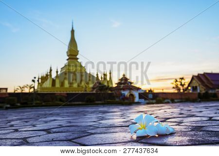 Wat Phra That Luang, Vientiane, Lao Pdr.top View Of Laos,landmark ,landscape And Terrain In Laos,tra
