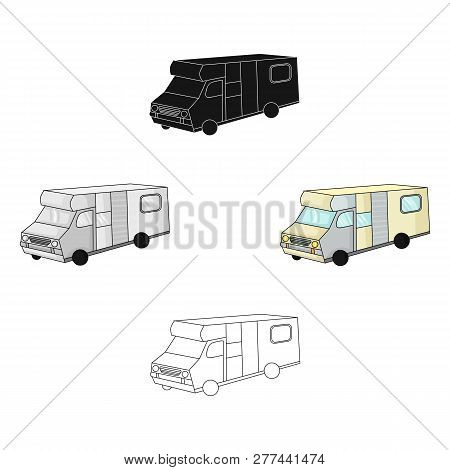 Campervan Icon In Cartoon Style Isolated On White Background. Family Holiday Symbol Stock Vector Ill