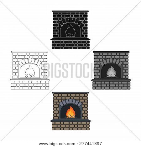 Fire, Warmth And Comfort. Fireplace Single Icon In Cartoon Style Vector Symbol Stock Illustration We