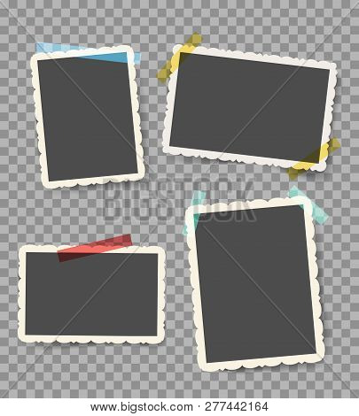 Scrapbook Photo Pictures. Vintage Blank Photoframes With Stickers Isolated On Transparent, Retro Wal