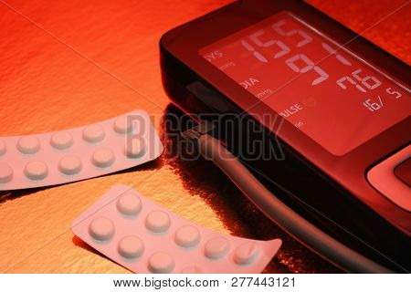 Tonometer, Medication Pills, Hypertension, The Risk Of Heart Attack And Stroke