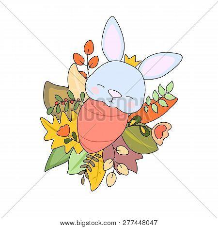 Newborn Baby Rabbit In Autumn Leaves, Vector Illustration On White Background. Autumn Season New Bab