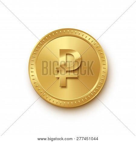 Rouble Currency Gold Coin Isolated On White Background. Vector Russian Currency Symbol.