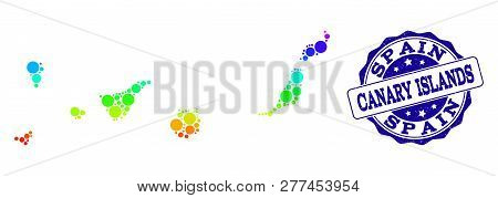Dotted Rainbow Map Of Canary Islands And Blue Grunge Round Stamp Seal. Vector Geographic Map In Brig