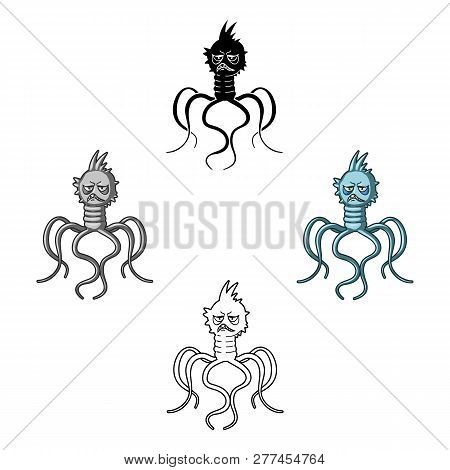 Blue Virus Icon In Cartoon Style Isolated On White Background. Viruses And Bacteries Symbol Stock Ve