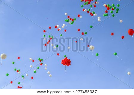 Many Colorful Balloons In The Blue Sky