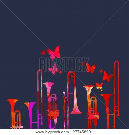 Music Festival Poster With Trumpet And Trombone Vector Illustration. Music Background With Colorful