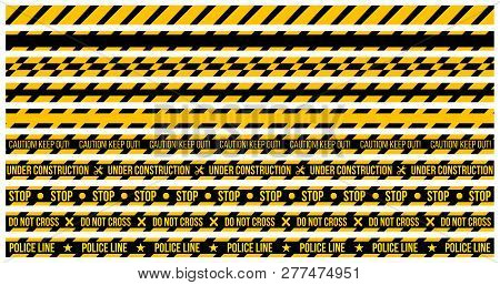 Vector Set Of Caution Tapes On Whit E Background. Illustration Consists Of Caution Keep Out , Do Not