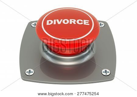 Divorce Pushbutton, 3d Rendering Isolated On White Background