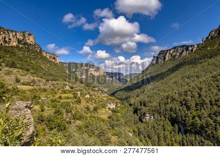 View Over Green River Valley Of Tarn Near Village Of Le Rozier In Cevennes Occitanie France