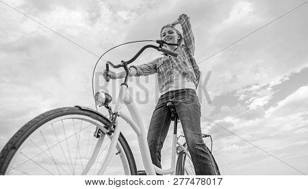Most Satisfying Form Of Self Transportation. Enjoy Cycling Cruiser Bike. Woman Feels Free While Enjo