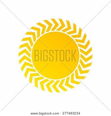 Yellow Sun Simple Sign, Flat Design Icon Vector, Seasons Sunny Weather, Sunny Weather Icon Illustrat