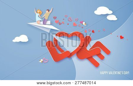 Valentines day card. Couple flying on paper airplane over big letters LOVE on blue sky background. Paper art illustration. Paper cut and craft style.