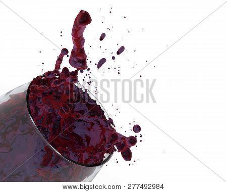 red wine fruity grape juice fruit punch glass splash close-up on white background 3D illustration poster