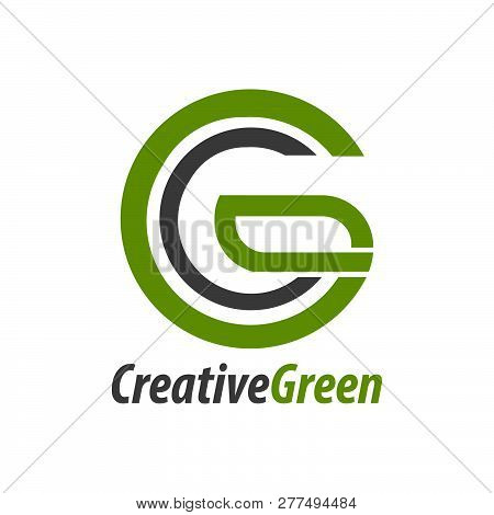 Creative Green Initial Letter Cg, Gc, C Logo Concept Design Template Idea
