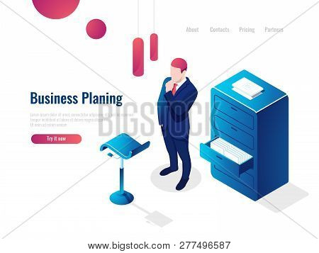 Organization Of The Working Process Isometric, Work With Documents, Paperwork, The Man Thinks Brains