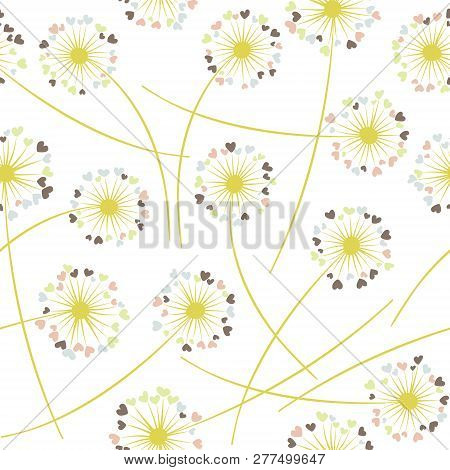 Dandelion Blowing Plant Vector Floral Seamless Pattern. Spring Flowers With Heart Shaped Petals. Vec