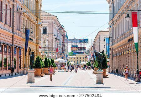 Karasz Street Is The Main, Most Famous, Attractive Pedestrian Street In Szeged. Many Banks, Restaura