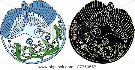 Round floral pattern with bird