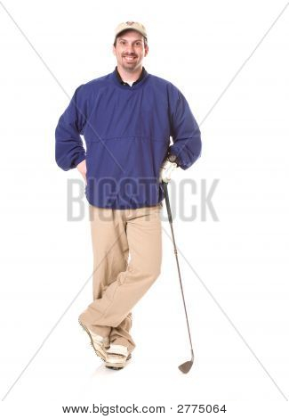 Male Golfer In Windbreaker