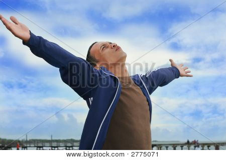 Man Freedom At Beach