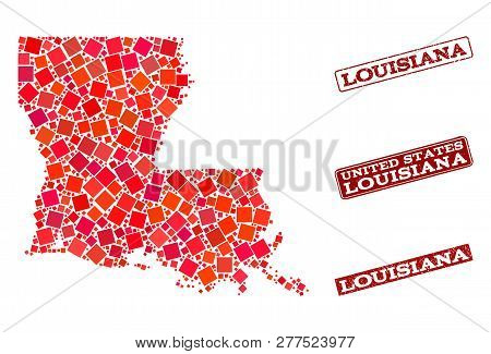 Geographic Composition Of Dot Mosaic Map Of Louisiana State And Red Rectangle Grunge Stamp Imprints.