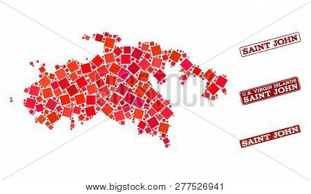 Geographic Composition Of Dot Mosaic Map Of Saint John Island And Red Rectangle Grunge Seal Stamp Wa