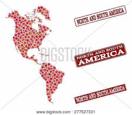 Geographic Composition Of Dot Mosaic Map Of South And North America And Red Rectangle Grunge Seal Im