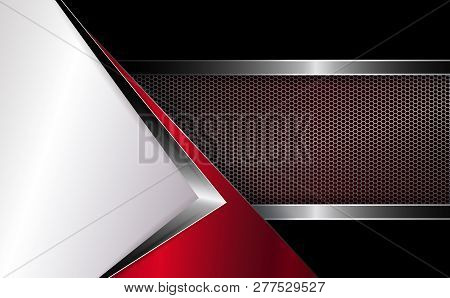 Geometric Background With White Corner And Grooved Mesh Frame.