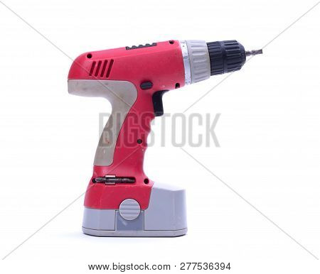 Cordless Screwdriver Or Power Drill Isolated On A White Background